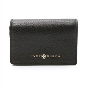Tory Burch Black Leather Brody Foldable Card Case